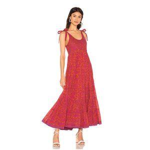 Free People Kikas Printed Red Midi Dress. Large